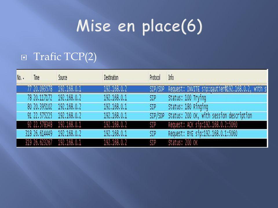 Mise en place(6) Trafic TCP(2)