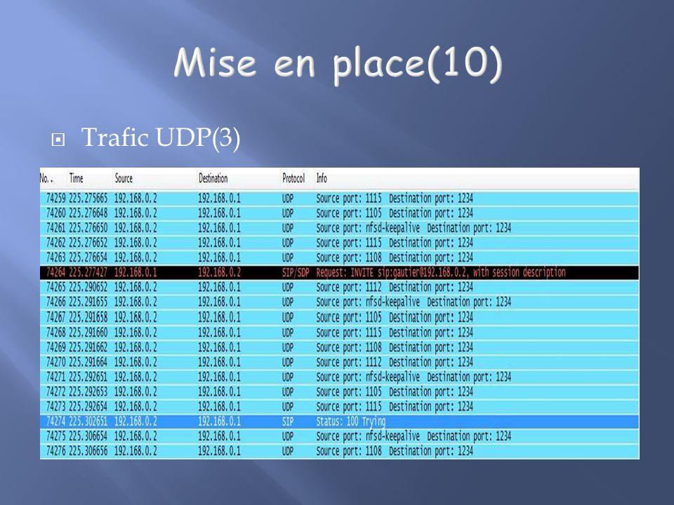 Mise en place(10) Trafic UDP(3)