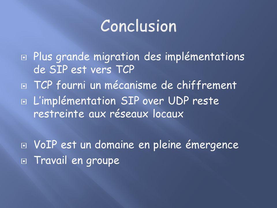 Conclusion Plus grande migration des implémentations de SIP est vers TCP. TCP fourni un mécanisme de chiffrement.