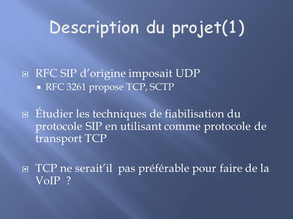Description du projet(1)