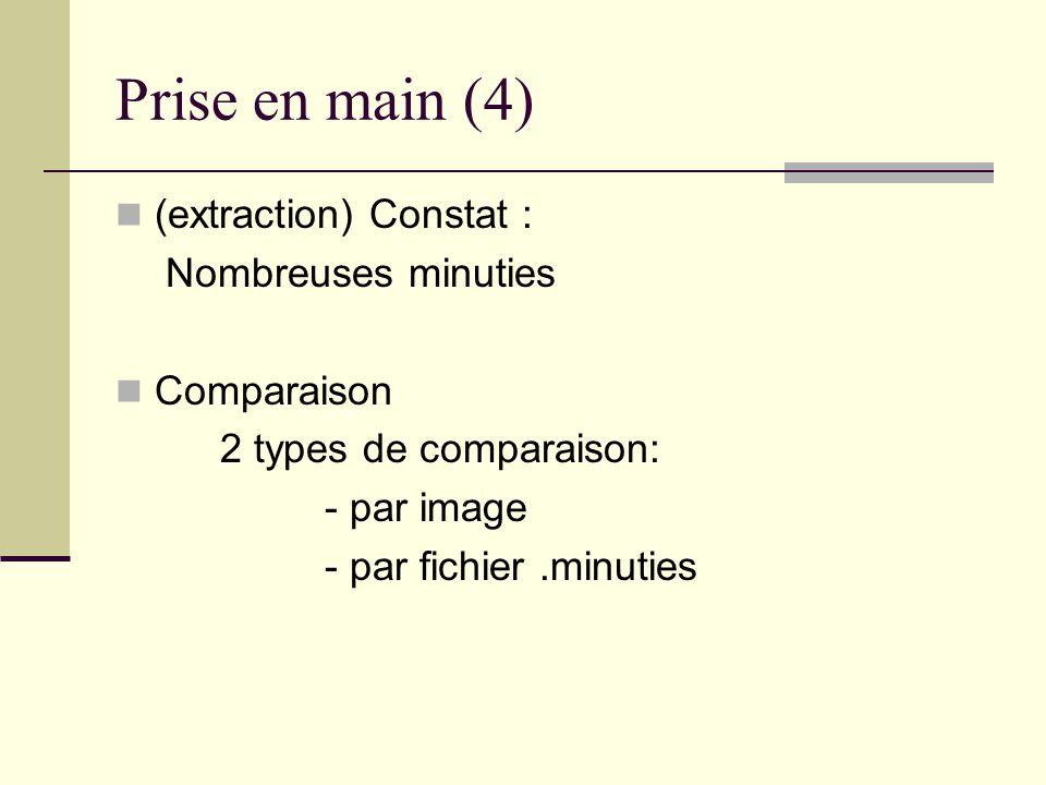 Prise en main (4) (extraction) Constat : Nombreuses minuties