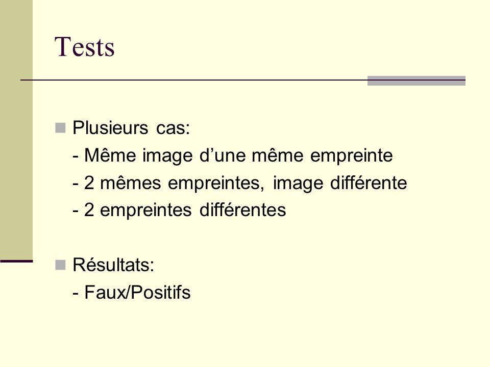 Tests Plusieurs cas: - Même image d'une même empreinte