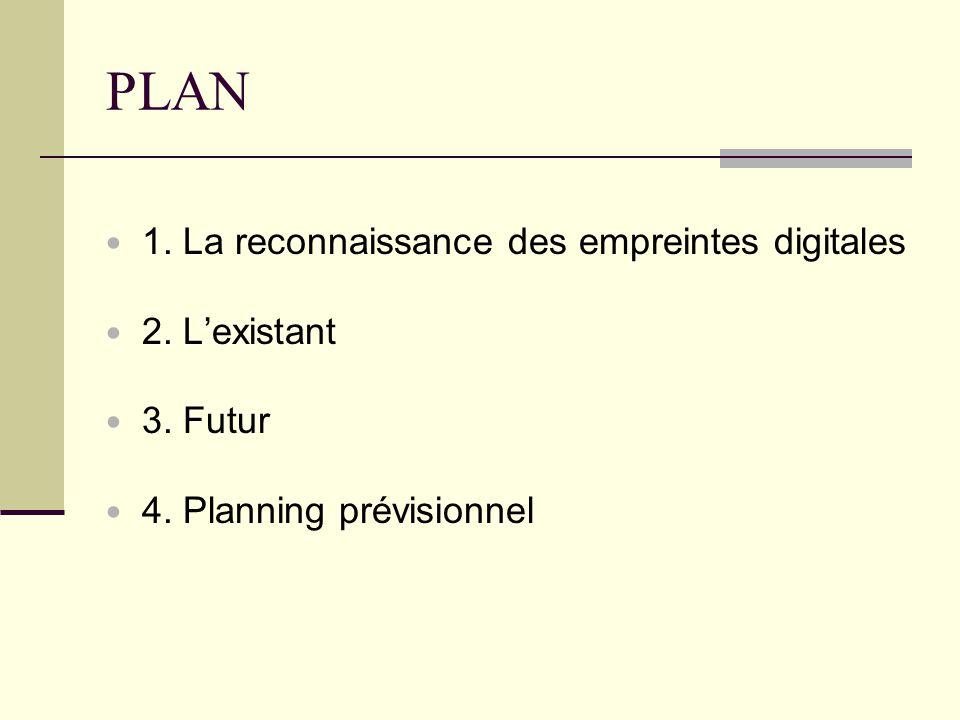 PLAN 1. La reconnaissance des empreintes digitales 2. L'existant