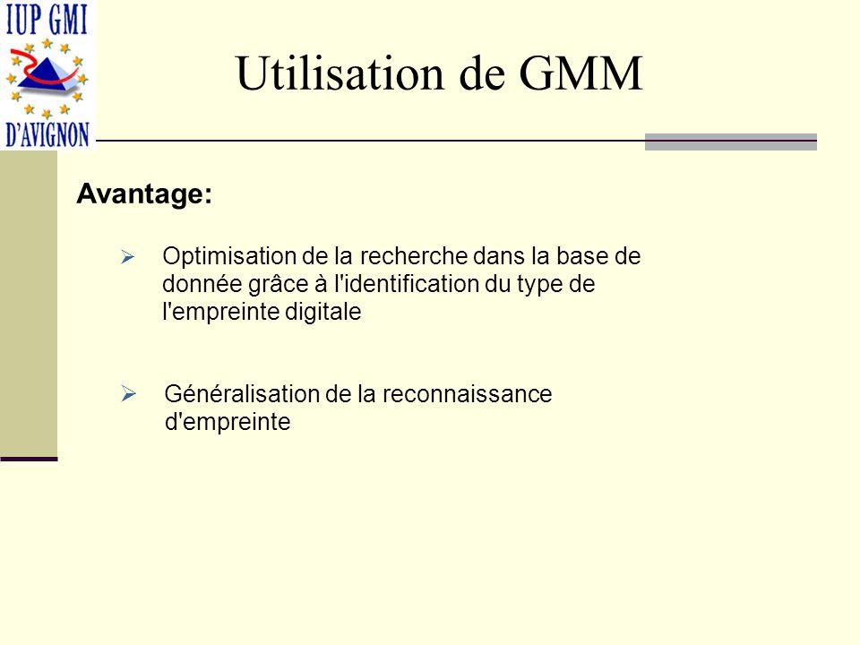 Utilisation de GMM Avantage: Généralisation de la reconnaissance