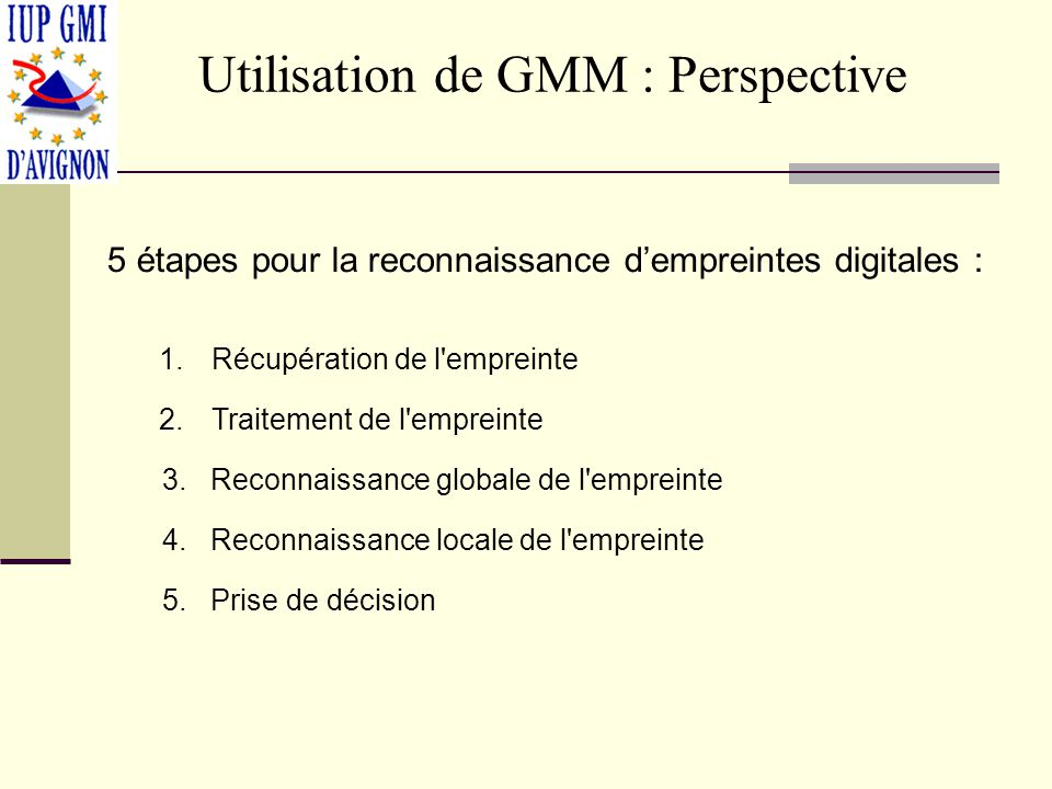 Utilisation de GMM : Perspective