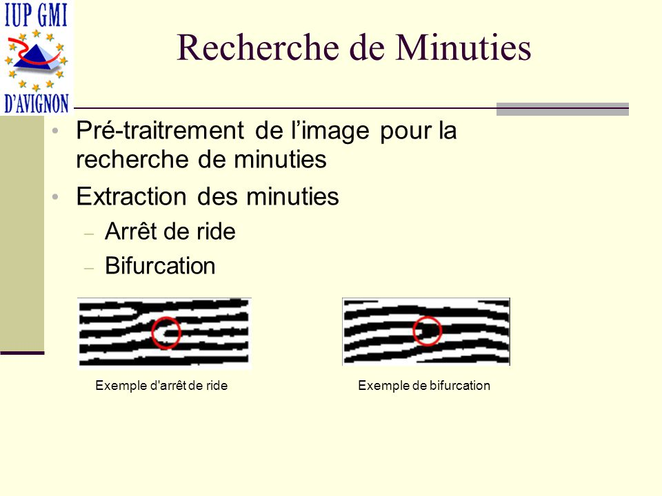 Recherche de Minuties Pré-traitrement de l'image pour la recherche de minuties. Extraction des minuties.