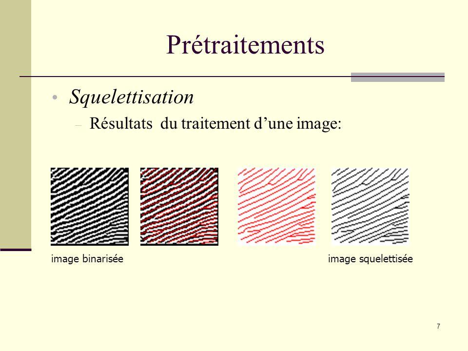 Prétraitements Squelettisation Résultats du traitement d'une image: