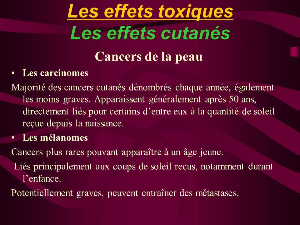 Les effets toxiques Les effets cutanés