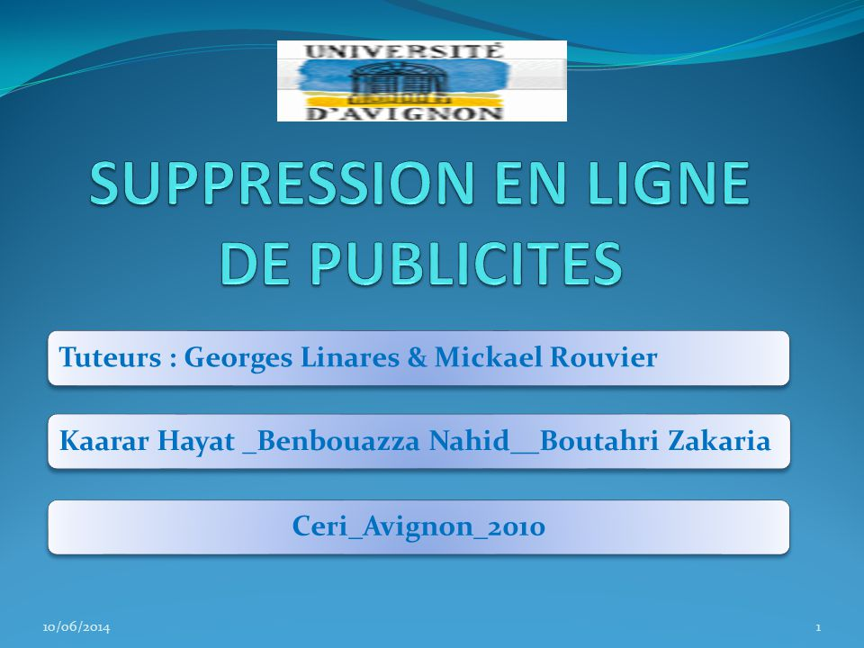 SUPPRESSION EN LIGNE DE PUBLICITES
