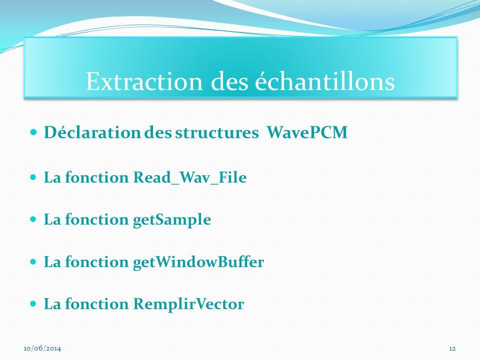 Extraction des échantillons
