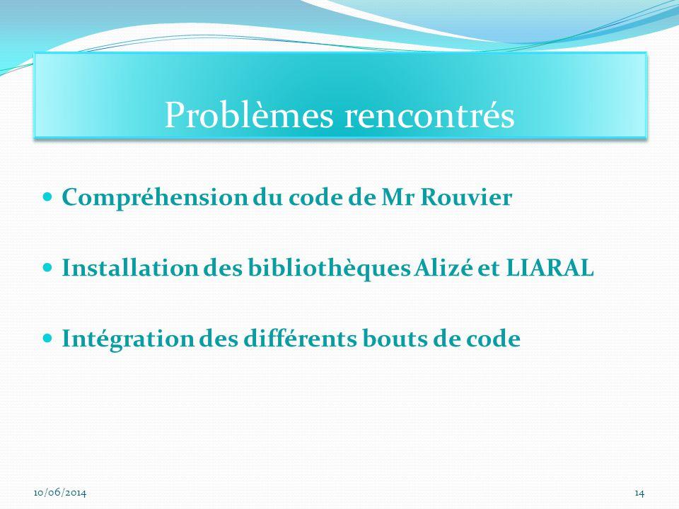 Problèmes rencontrés Compréhension du code de Mr Rouvier