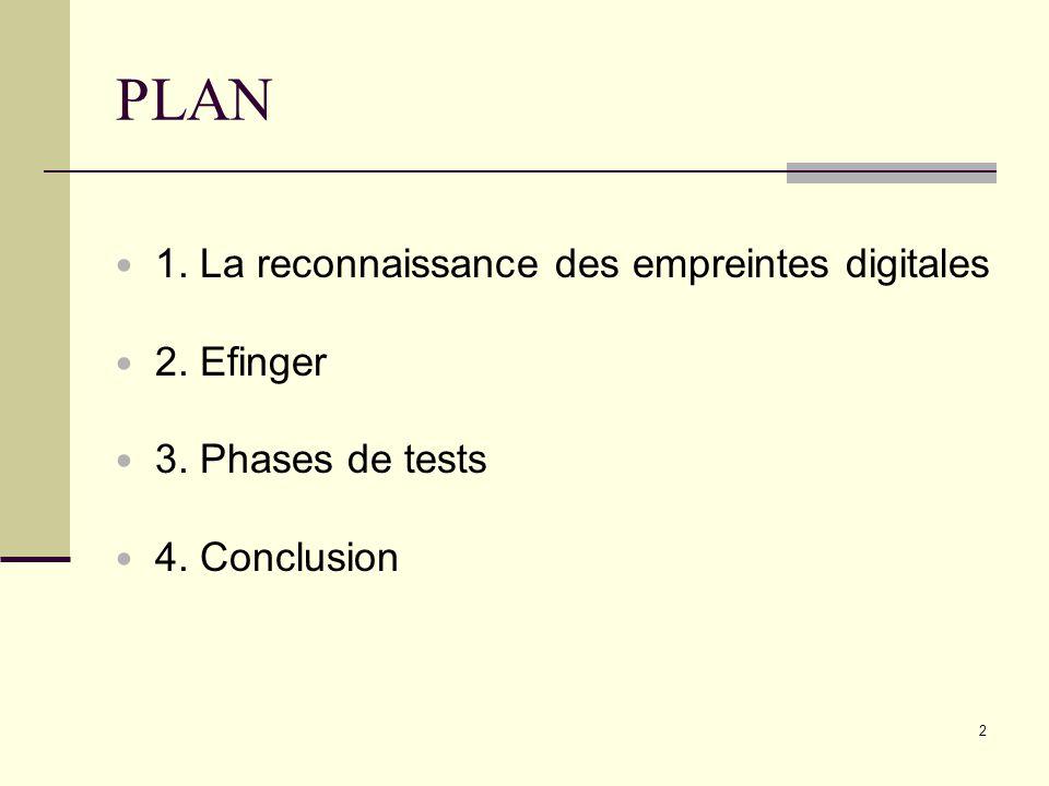 PLAN 1. La reconnaissance des empreintes digitales 2. Efinger