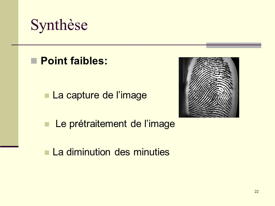 Synthèse Point faibles: La capture de l'image