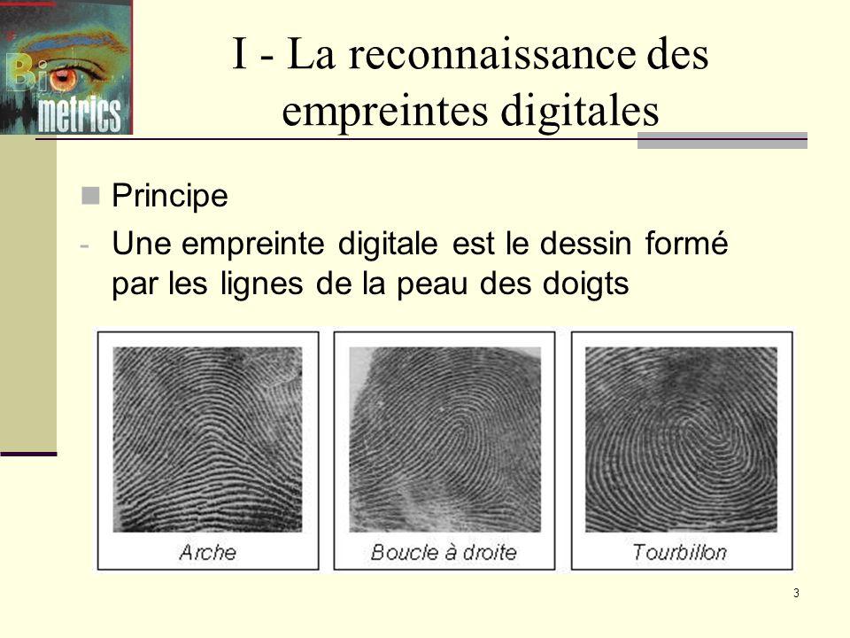 I - La reconnaissance des empreintes digitales
