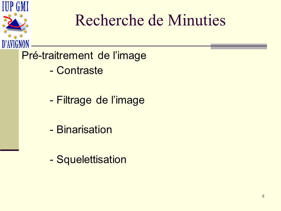 Recherche de Minuties Pré-traitrement de l'image - Contraste