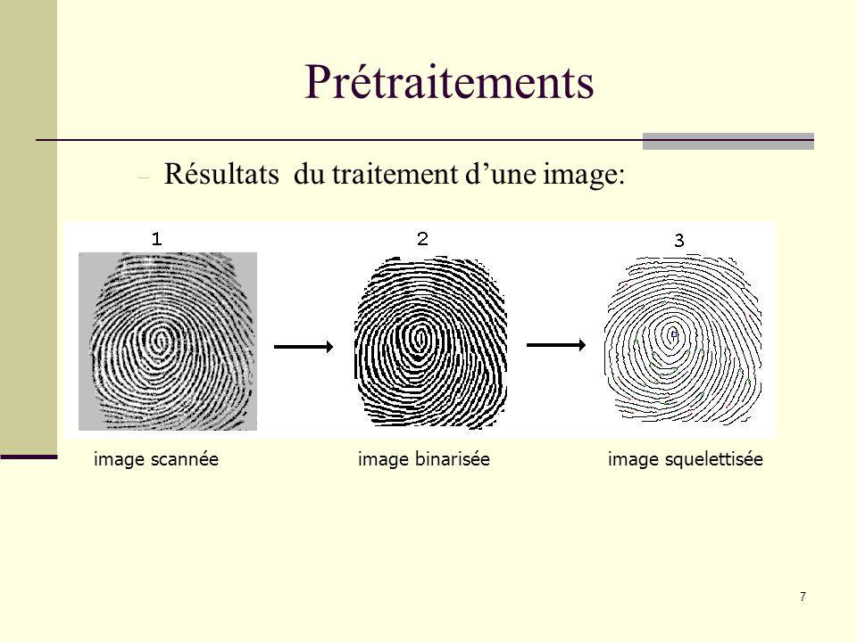 Prétraitements Résultats du traitement d'une image: image scannée