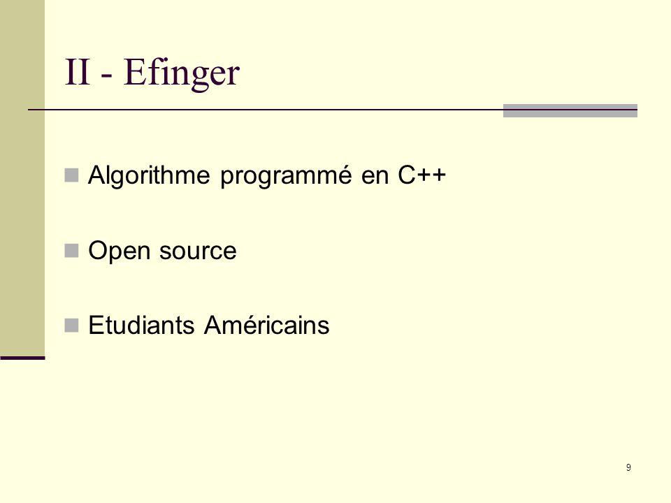 II - Efinger Algorithme programmé en C++ Open source