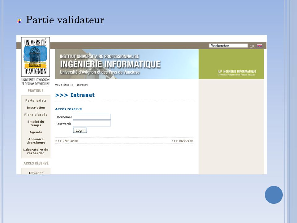 Partie validateur