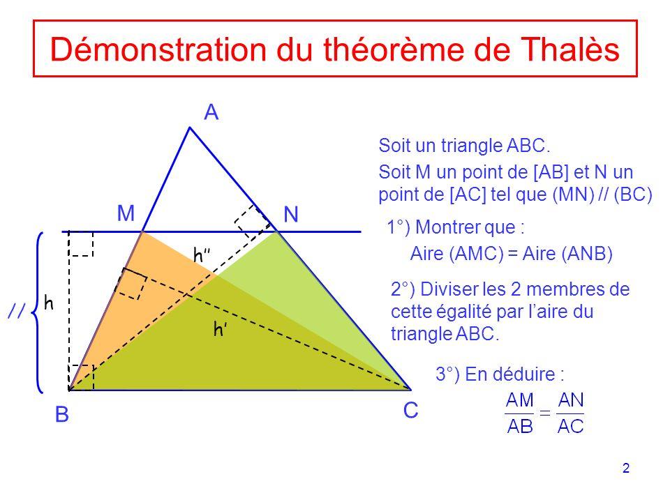 Démonstration du théorème de Thalès