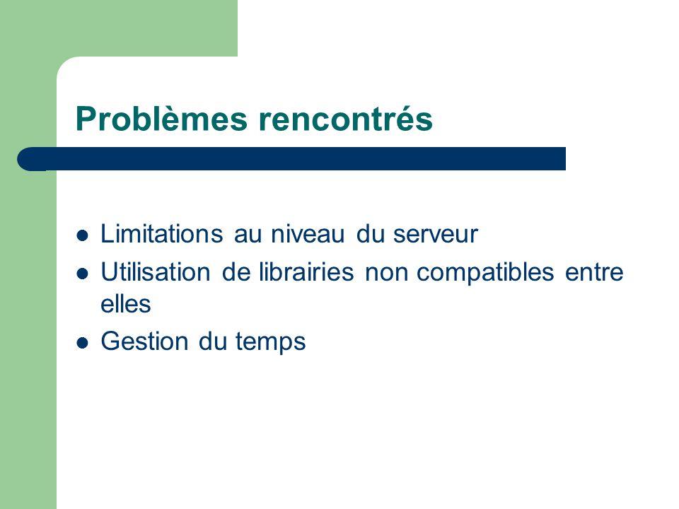 Problèmes rencontrés Limitations au niveau du serveur