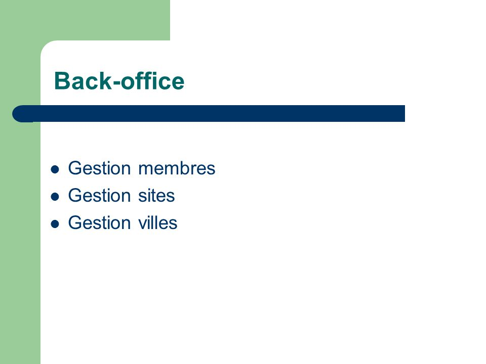 Back-office Gestion membres Gestion sites Gestion villes Mathieu