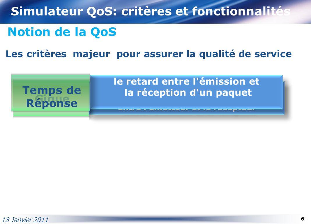Simulateur QoS: critères et fonctionnalités