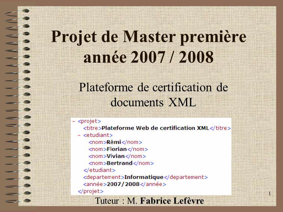Projet de Master première année 2007 / 2008