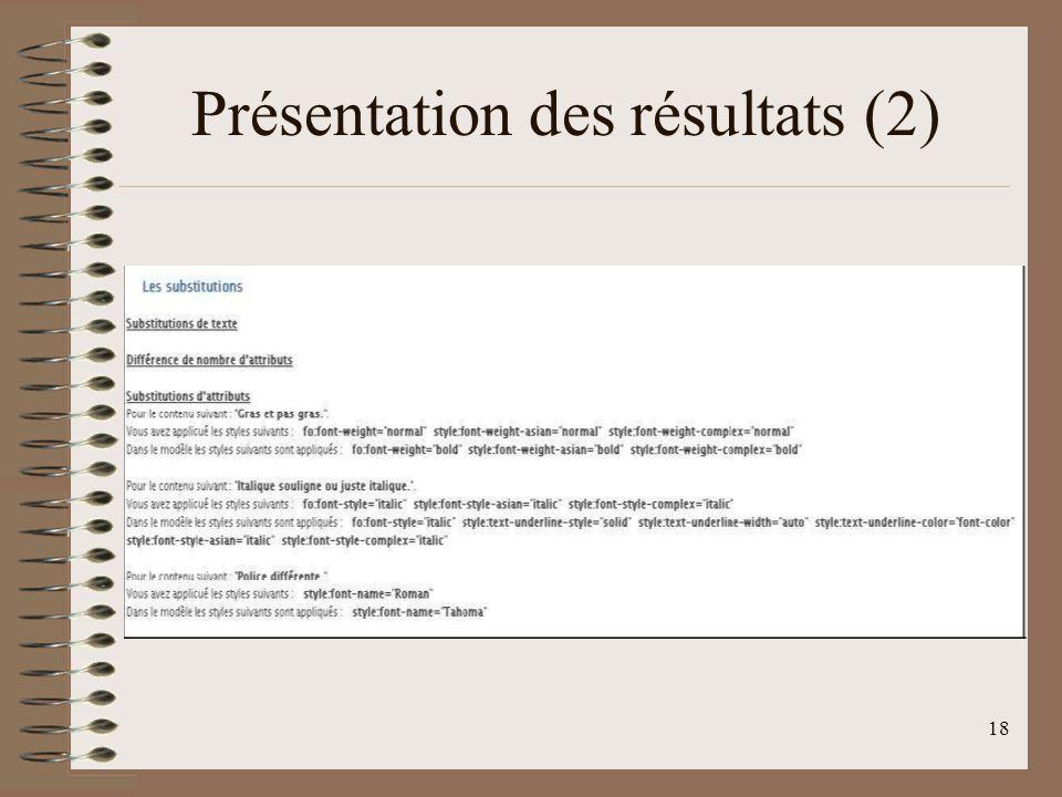 Présentation des résultats (2)