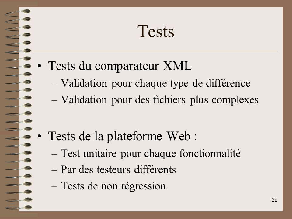 Tests Tests du comparateur XML Tests de la plateforme Web :