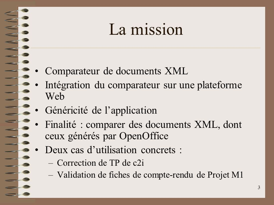 La mission Comparateur de documents XML
