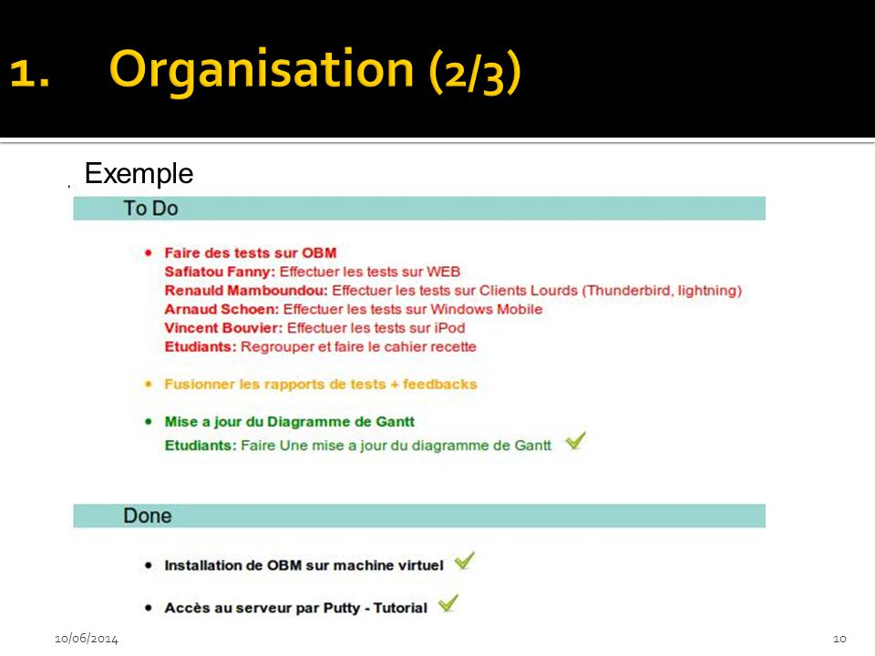 Organisation (2/3) Exemple 02/04/2017