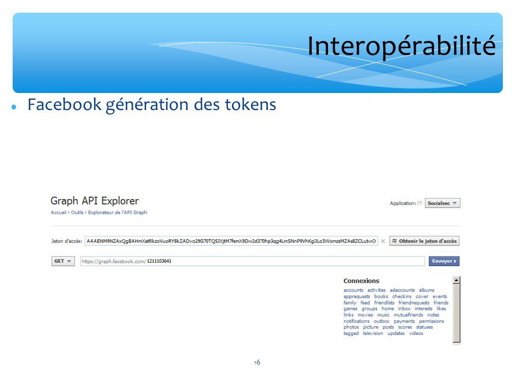 Interopérabilité Facebook génération des tokens
