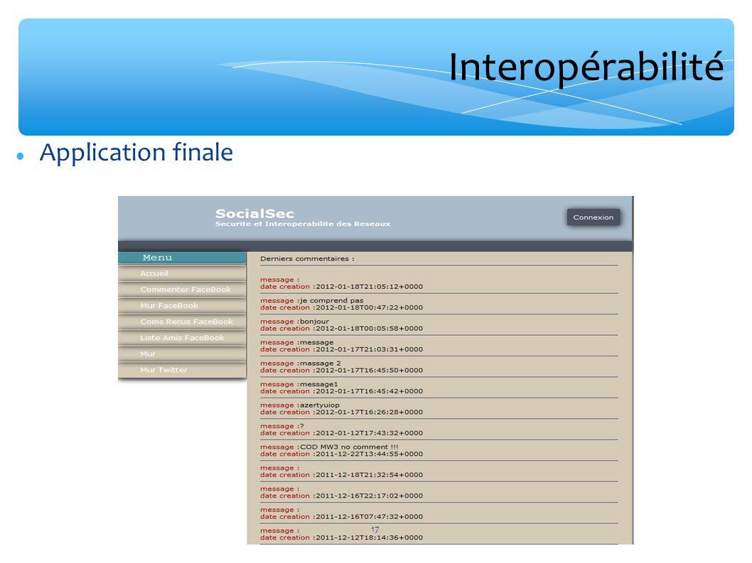 Interopérabilité Application finale 17