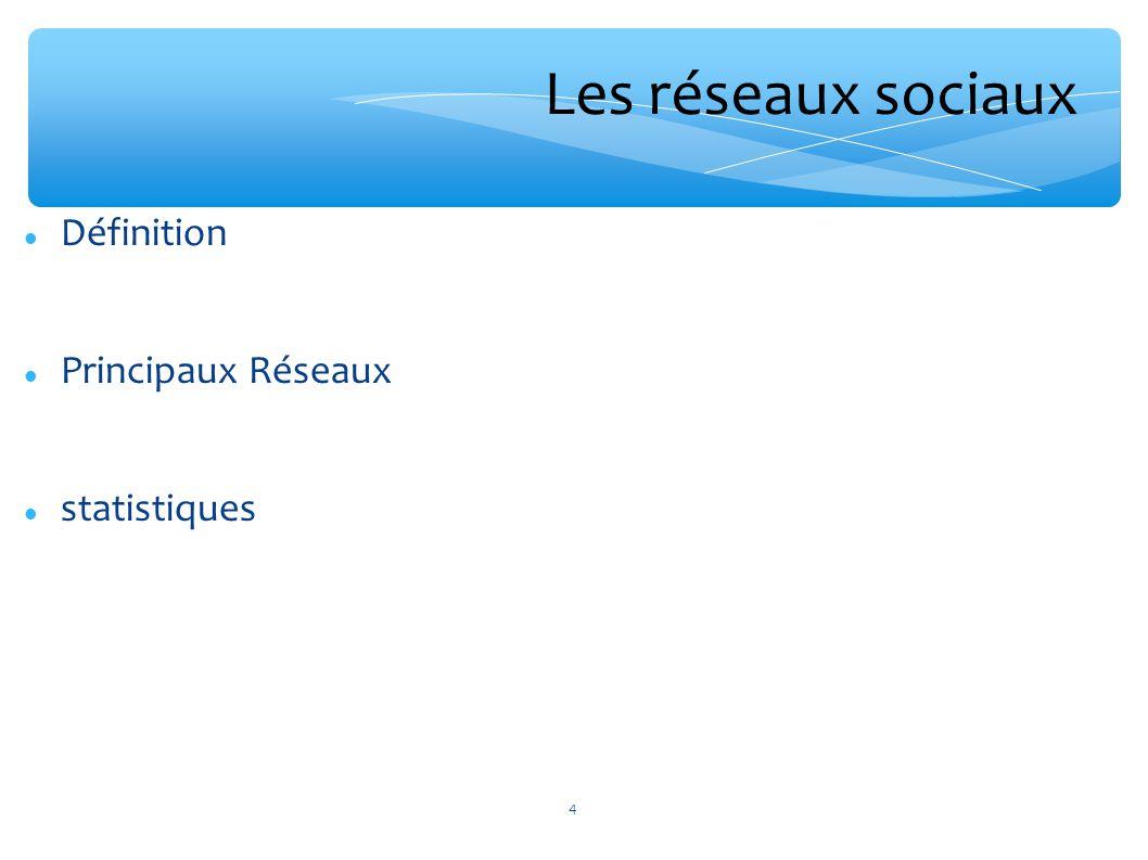 Les réseaux sociaux Définition Principaux Réseaux statistiques 4