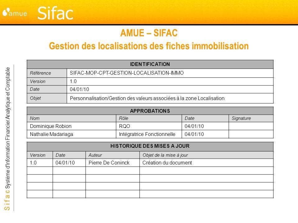 AMUE – SIFAC Gestion des localisations des fiches immobilisation