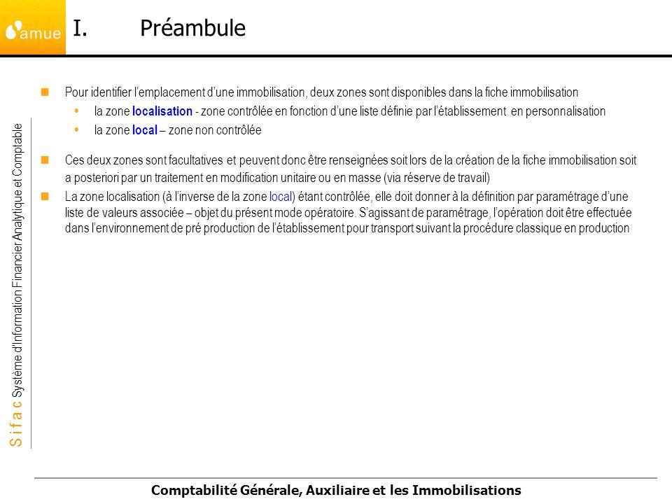 I. Préambule Pour identifier l'emplacement d'une immobilisation, deux zones sont disponibles dans la fiche immobilisation.