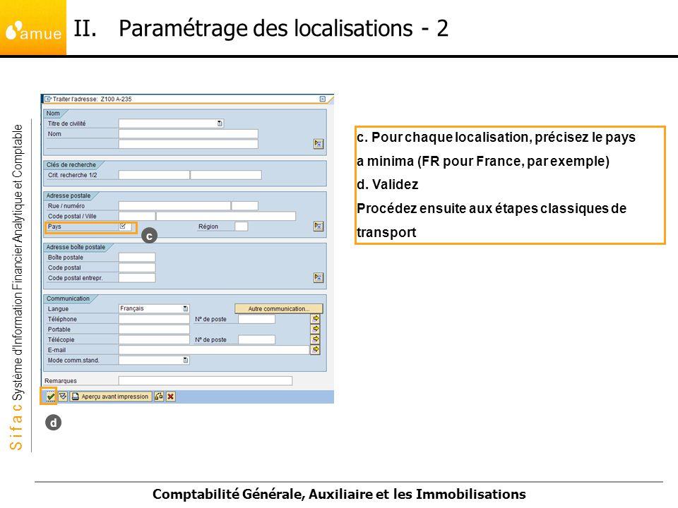II. Paramétrage des localisations - 2