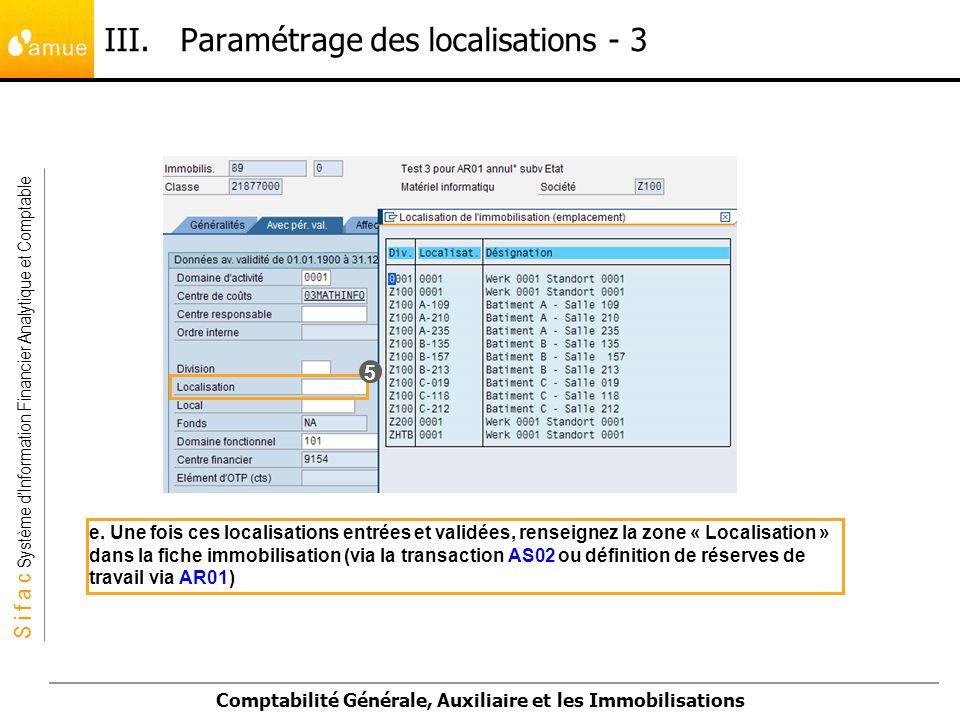 III. Paramétrage des localisations - 3