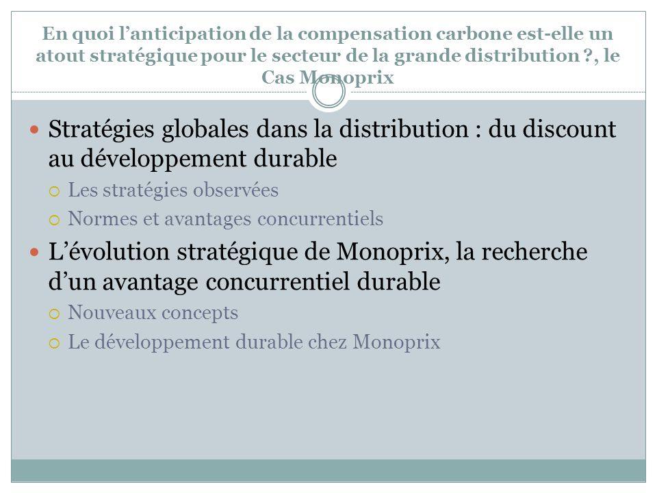 En quoi l'anticipation de la compensation carbone est-elle un atout stratégique pour le secteur de la grande distribution , le Cas Monoprix