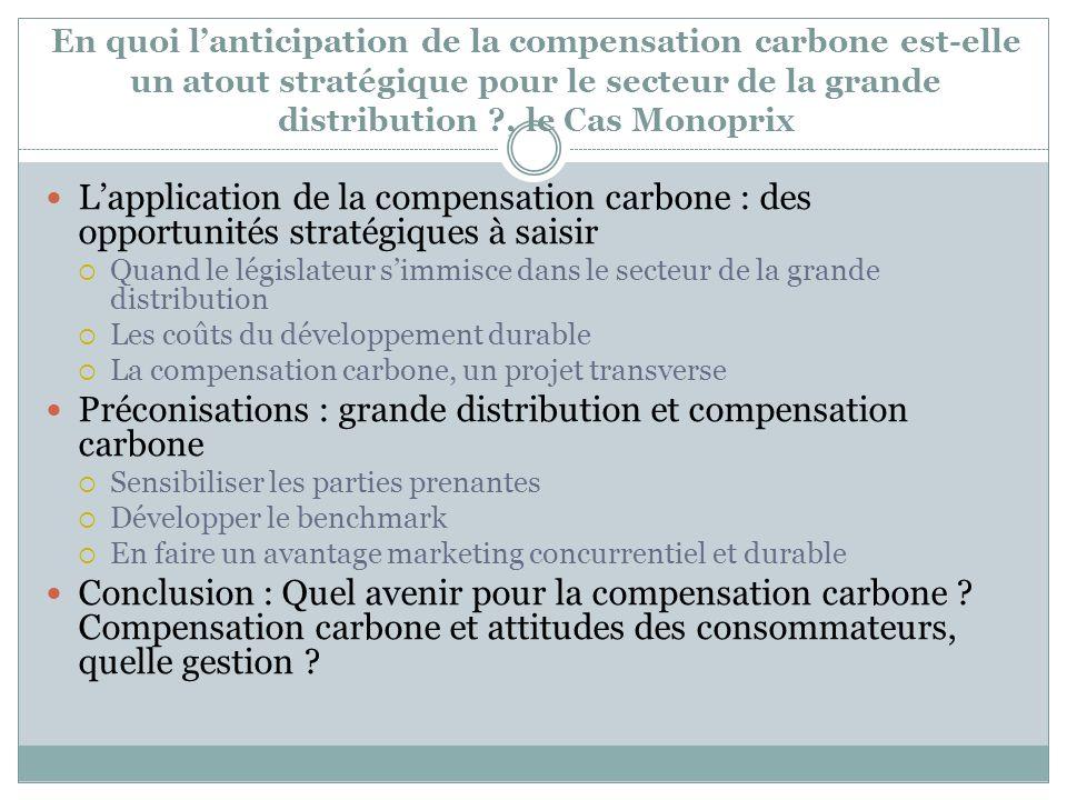 Préconisations : grande distribution et compensation carbone