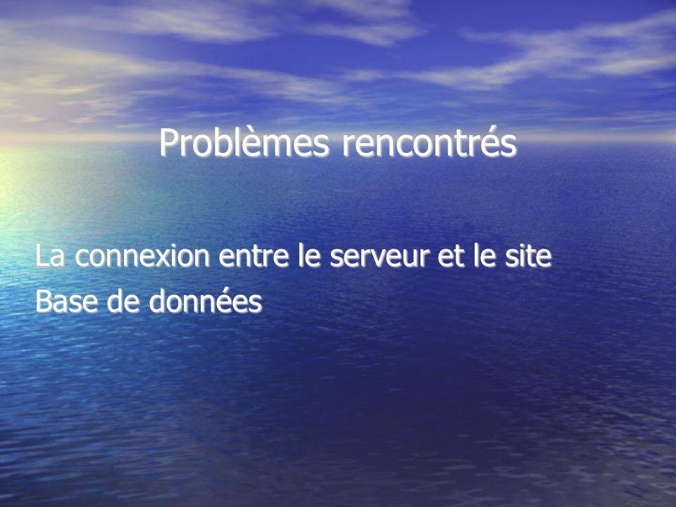 Problèmes rencontrés La connexion entre le serveur et le site