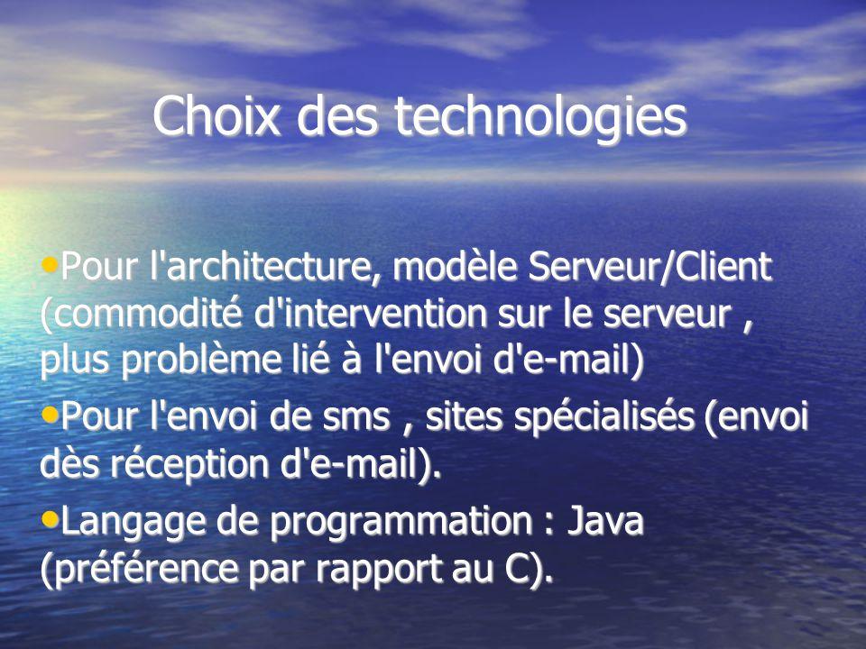 Choix des technologies