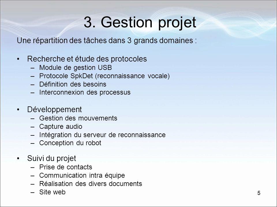 3. Gestion projet Une répartition des tâches dans 3 grands domaines :