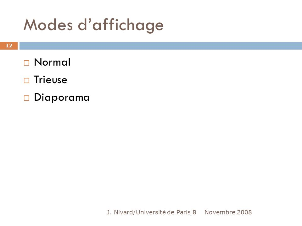Modes d'affichage Normal Trieuse Diaporama