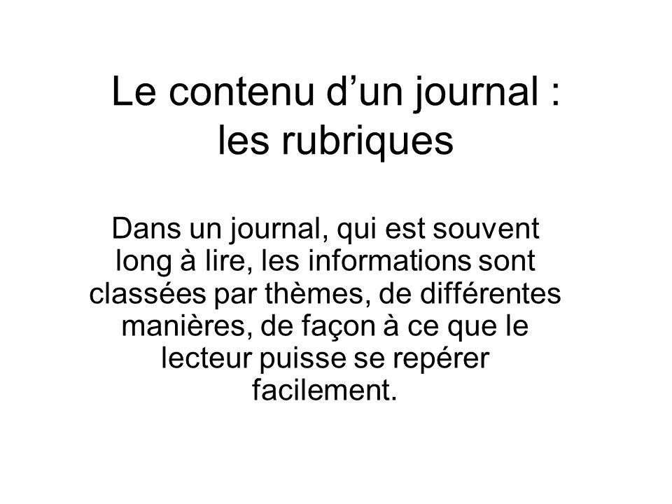 Le contenu d'un journal : les rubriques