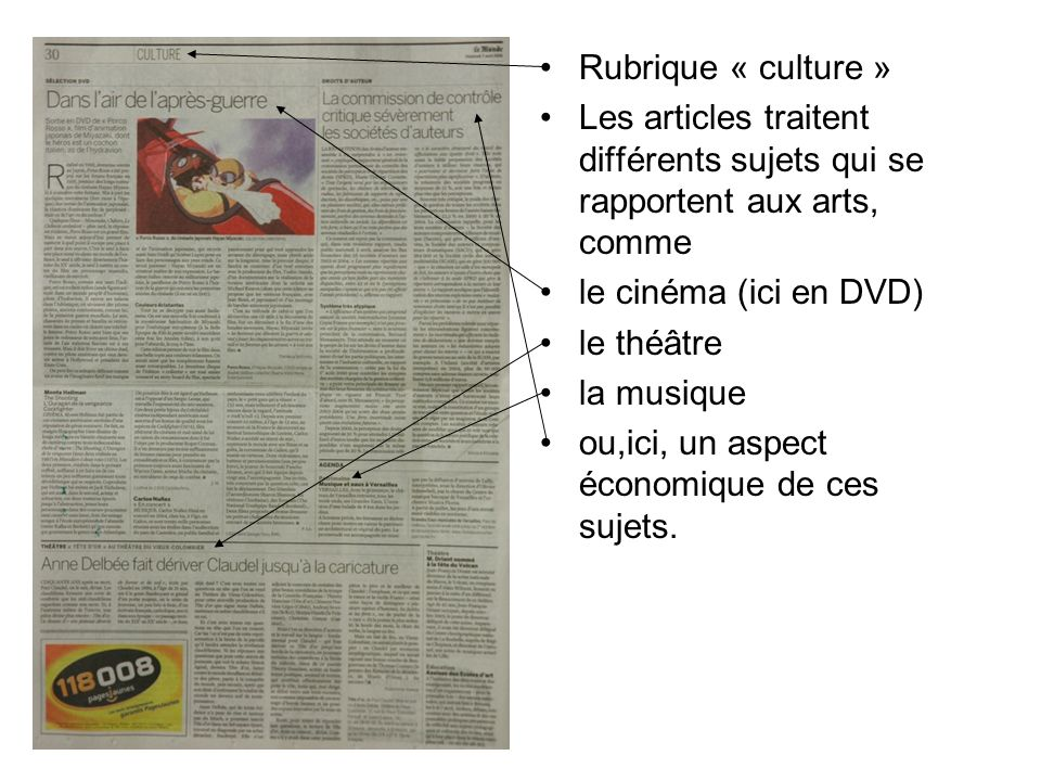 Rubrique « culture » Les articles traitent différents sujets qui se rapportent aux arts, comme. le cinéma (ici en DVD)