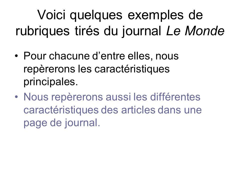 Voici quelques exemples de rubriques tirés du journal Le Monde
