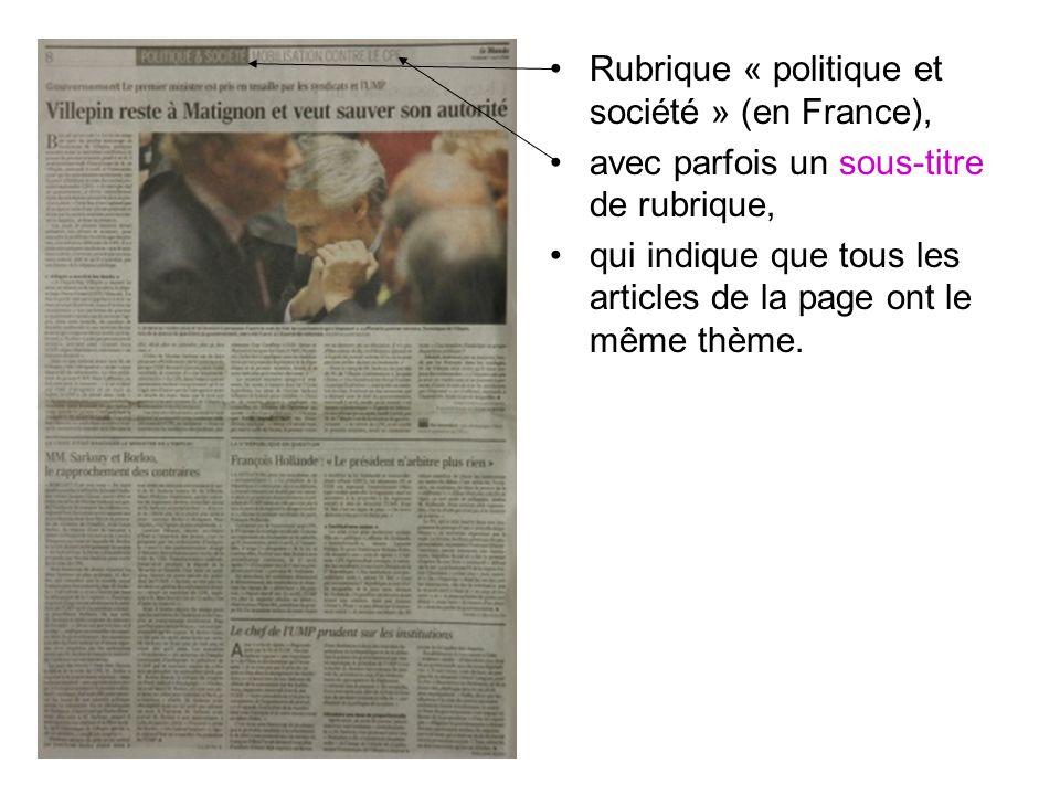Rubrique « politique et société » (en France),
