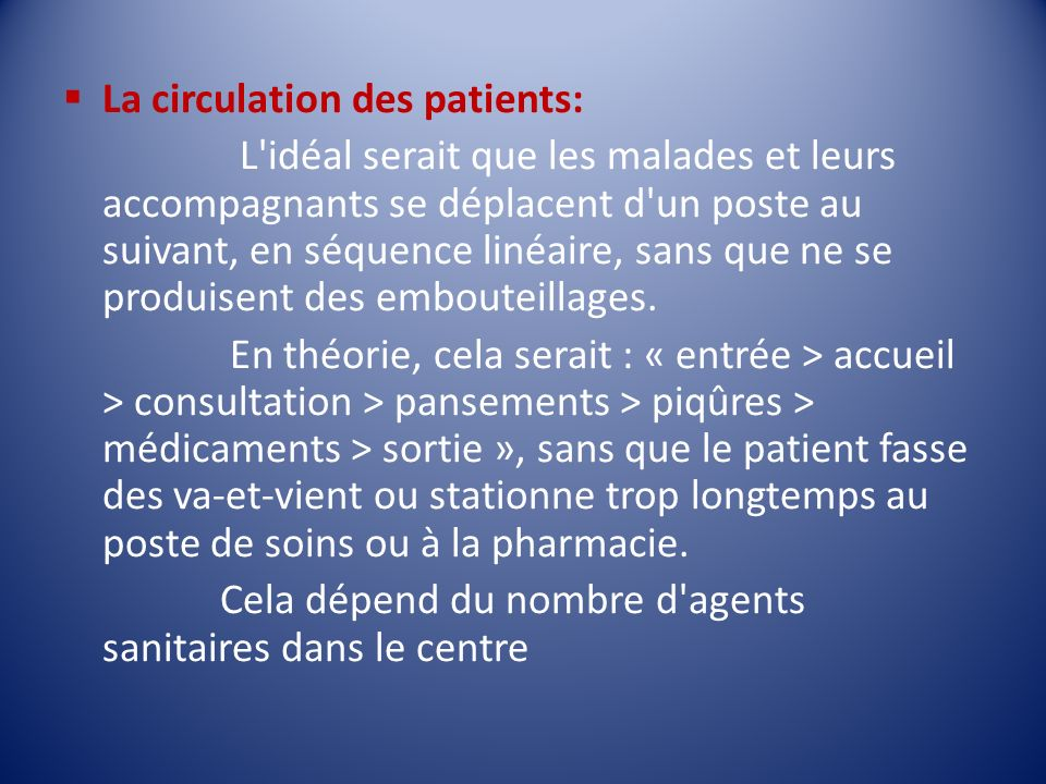La circulation des patients: