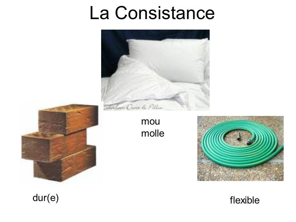 La Consistance mou molle dur(e) flexible